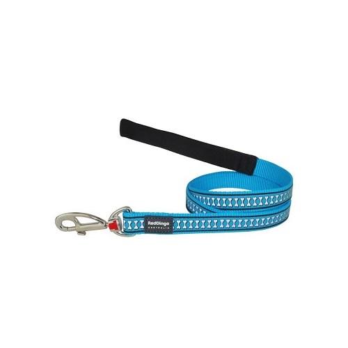 Reddingo Fosforlu Kemik Desenli Mavi Uzatma Köpek Tasması 15 Mm