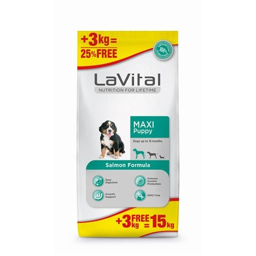 La Vital Maxi Puppy Salmon Büyük Irklar İçin Yavru Köpek Maması 12+3 Kg
