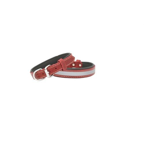 Doggie Comfort Reflektifli Deri Boyun Tasması 40 Cm * 2 Cm Kırmızı