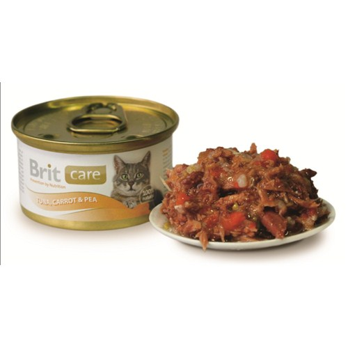 """""""Brit Care Ton Balığı, Havuç Ve Bezelyeli Yetişkin Kedi Konservesi 80 Gr. - 6 Adet"""""""