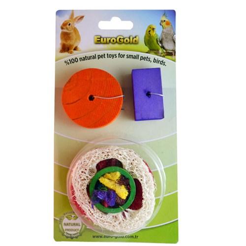 Eurogold Kuşlar Ve Kemirgenler İçin Yenilebilir Meyve Dilimi Ve Ahşap Oyun