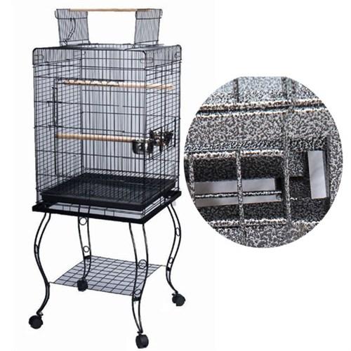 Qh Pet Papağan Kafesi Açılır Çatılı Dövme Demir Siyah 51X51x129