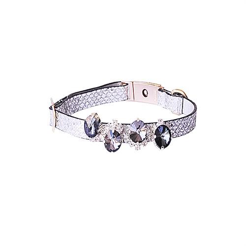Poshqin Monte Carlo Gümüş Renk Deri,Akseuarlı Köpek Boyun Tasması