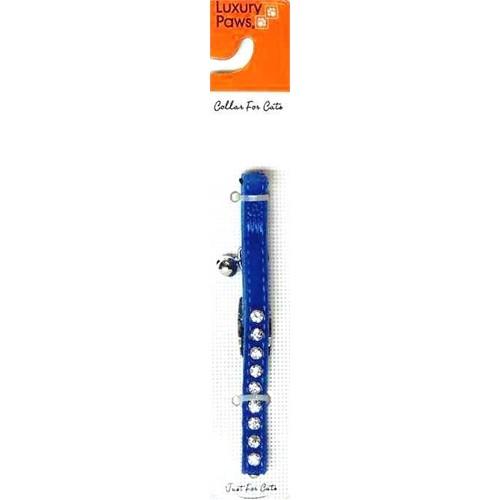 Lp Kadife Tek Taşlı Kedi Tasması Mavi 10Mm X 30 Cm