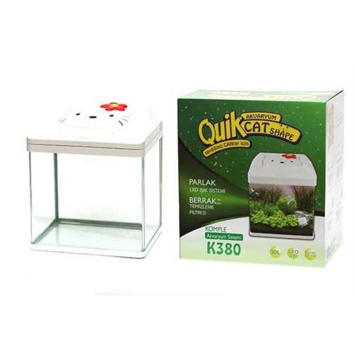 Quik K-380 Kedi Şekilli Akvaryum Beyaz Pıhq-029