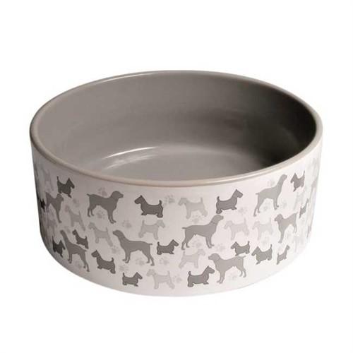 Köpek Desenli Mama ve Su Kabı 250 ml 11 cm Gri Rengi