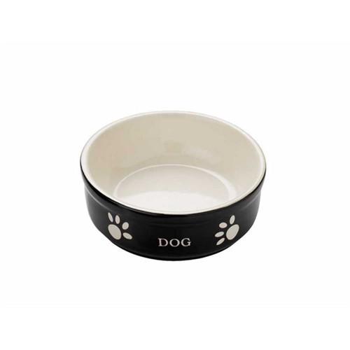 Nobby Dog Seramik Mama Kabı Siyah/Bej 13.5Cm 68766