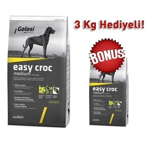 Golosi Easy Croc Orta Irk Yetişkin Kuru Köpek Maması 12 Kg + 3 Kg