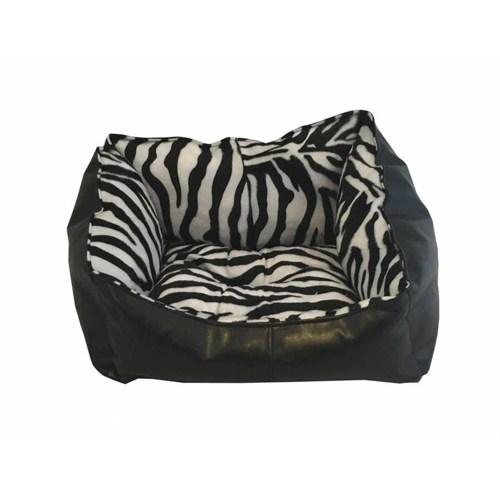 Leos Deri Kedi Ve Küçük Irk Köpek Yatağı Zebra Desenli No:1 36 X 46 X 22 Cm