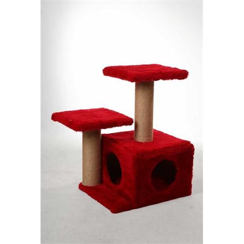 Leo's Kedi Yuvası Ve Tırmalama Tahtası Kırmızı 45 X 35 X 65 Cm