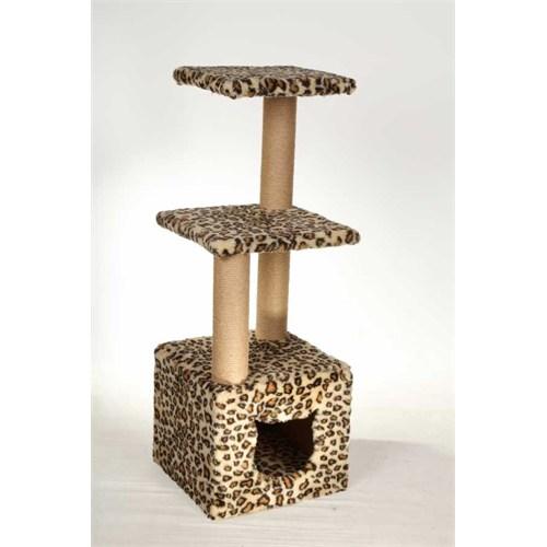 Leo'S Dublex Kedi Tırmalama Tahtası Ve Yuvası Leopar 40 X 40 X 110 Cm