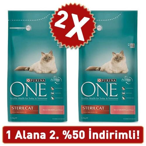 Purina One Sterilised Somonlu Kısırlaştırılmış Kedi Maması 2 Adet 2 X 1.5 Kg