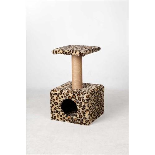 Leo'S Oturaklı Kedi Tırmalama Tahtası Ve Yuvası Leopar 35 X 35 X 50 Cm