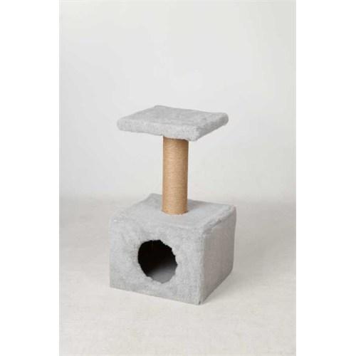 Leo'S Oturaklı Kedi Tırmalama Tahtası Ve Yuvası Gri 35 X 35 X 50 Cm