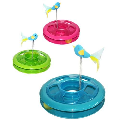 Pawise Spiral Kuşlu Oyun Çemberi Kedi Oyuncağı 26 Cm