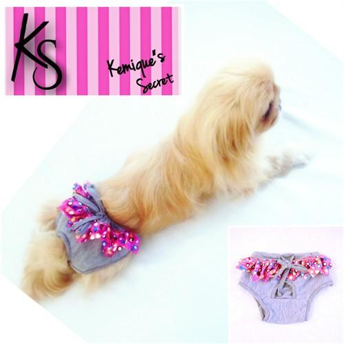 Köpek İç Çamaşırı - Gri Fırfırlı - Kemiqe Regl Külot - Kemique's Secret - Lingerie Xs
