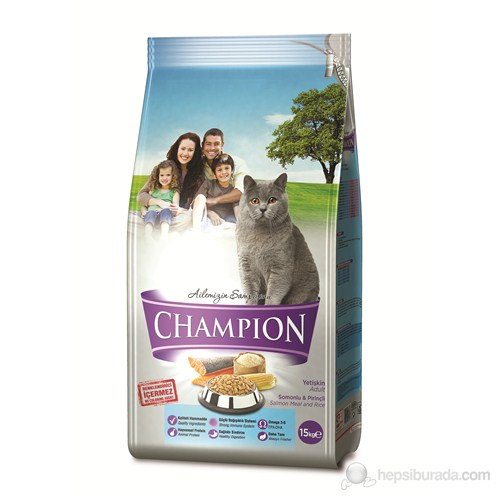 Champion Somonlu ve Pirinçli Yetişkin Kedi Maması 15 Kg