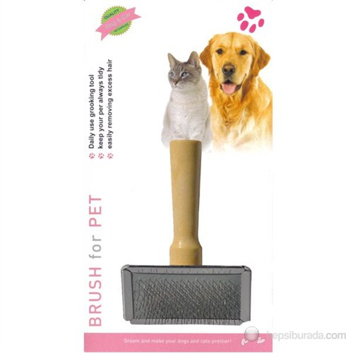 Luxury Paws Ahşap Saplı Metal Fırça Medium 9 Cm