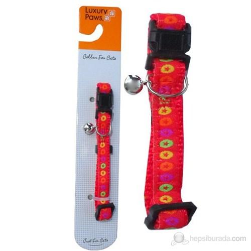 Luxury Paws Desenli Kedi Boyun Tasması Kırmızı 10mm-30cm