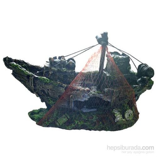 Dekoratif Akvaryum Aksesuarı Balık Ağlı Gemi