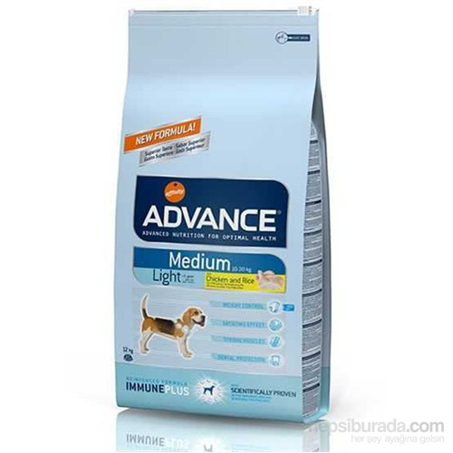 Advance medium adult tavuklu light yetişkin köpek maması 12kg