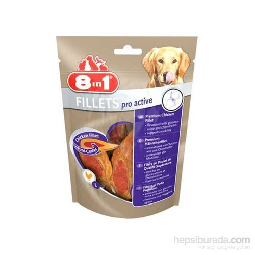 8in1 Poch Fillets Pro Active Tavuk Etli Glukozamin Destekli Köpek Ödülü