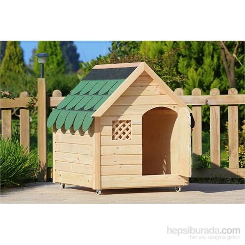 Mandu Isı Yalıtımlı Ahşap Köpek Kulübesi Boyasız (Large) Minder + İsimlik + Mama Kabı Hediyeli
