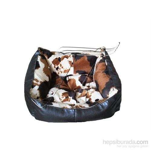 Pet Style Deri Köpek Ve Kedi Yatağı Kahverengi Desenli No:4