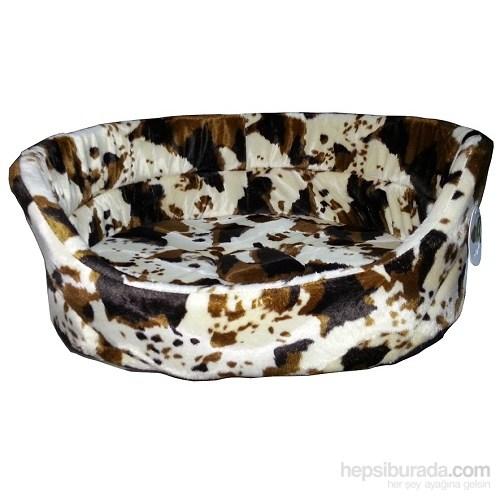 Pet Pretty Tay Tüyü Alacalı Kahverengi Desenli Kedi Ve Küçük Irk Köpek Yatağı Medium