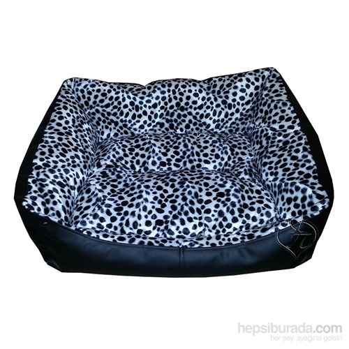 Pet Pretty Deri Köpek Yatağı Dalmaçyalı Desenli No:2 65 X 50 X 30 Cm