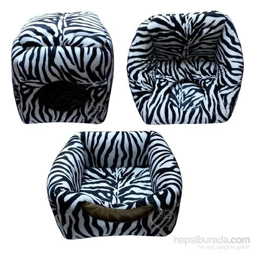 Pet Pretty 3 Fonksiyonlu Kedi Ve Küçük Irk Köpek Yuvası Zebra Desenli 44 X 44 X 44 Cm