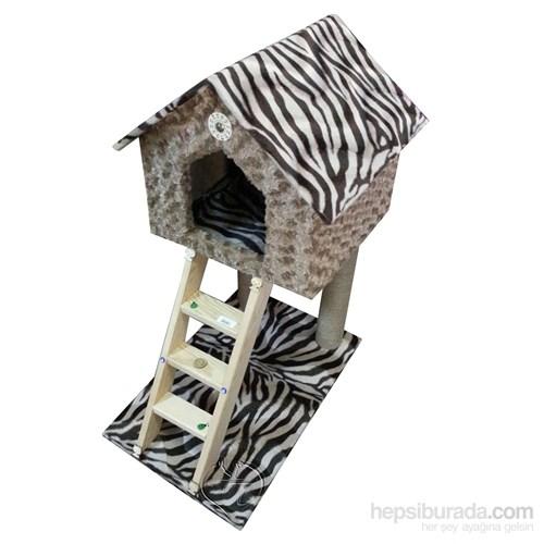 Pet Pretty Ev Desenli Kedi Tırmalama Tahtası Ve Yuvası Kahverengi Desenli 35 X 78 X 45 Cm