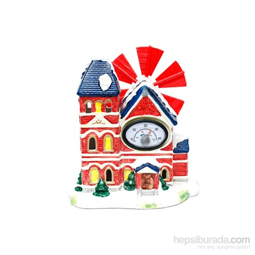 Akvaryum Dekor Değirmenli Termometreli 3Katlı Ev