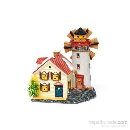 Akvaryum Dekor Değirmenli Kubbeli Ev