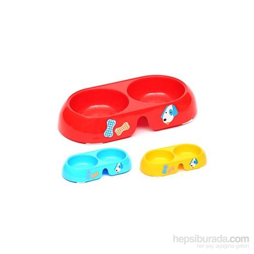Flip İkili Mama Kabı Küçük Oval Mavi