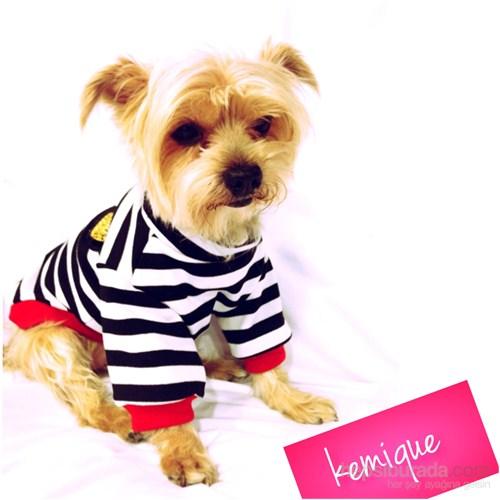 Kemique Metal Armalı Çizgili Köpek Tişörtü - Siyah & Beyaz
