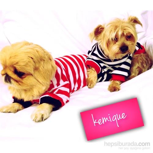 Kemique Metal Armalı Çizgili Köpek Tişörtü - Kırmızı & Beyaz