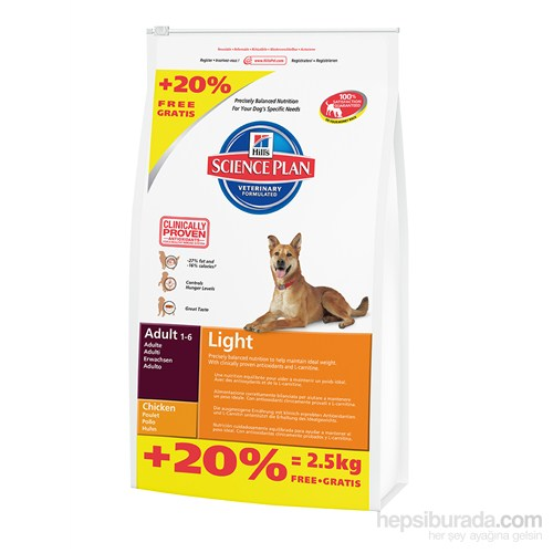 Hill's Science Plan Light Yetişkin Köpek Maması 14,5 Kg (Adult Light with Chicken)