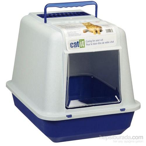 Catit Karbon Filtreli Büyük Kapalı Tuvalet Kabı Mavi / Beyaz