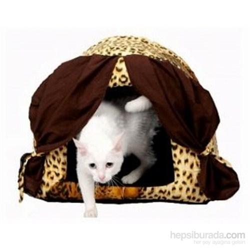 Perdeli Süngerli Kedi Köpek Yatağı 50*40*40 Cm