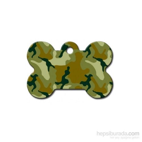 Quick Tag Köpek İsimlik, Kemik, Yeşil Kamuflaj, Büyük