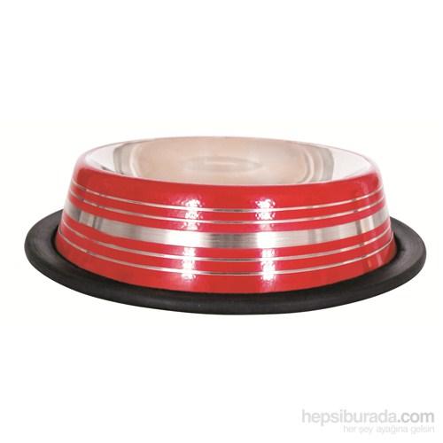 Lion Çelik Mama Kabı(Skid Bowl Stripped 96Oz 2300Ml)Kırmızı