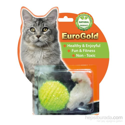 Eurogold İp Kaplı Top & Pastel Fare 2'Li Kedi Oyuncağı