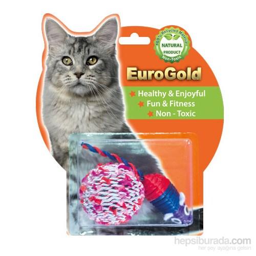 Eurogold Parlak Fare & Renkli Top 2'Li Kedi Oyuncağı