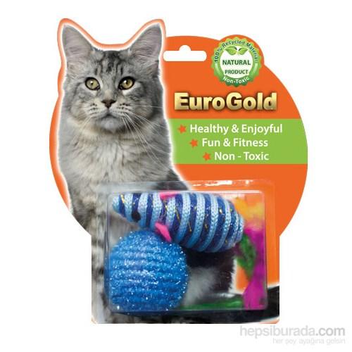 Eurogold Tüylü Fare & İp Kaplı Top 2'Li Kedi Oyuncağı