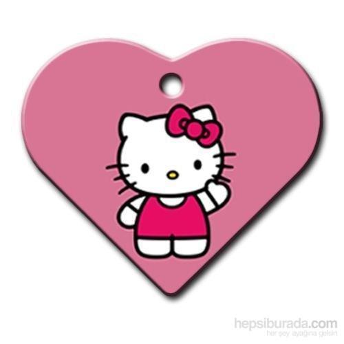 Dalis Pet Tag - Hello Kıtty Geniş Kalp Kedi Köpek Künyesi (İsimlik)