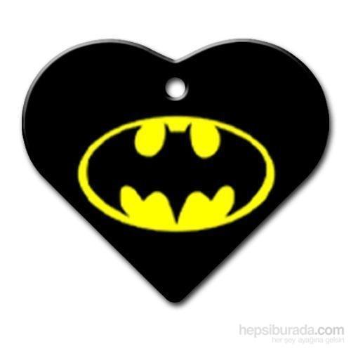 Dalis Pet Tag - Batman Logo Desenli Geniş Kalp Kedi Köpek Künyesi (İsimlik)