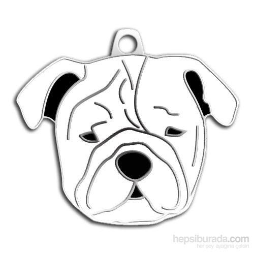 Dalis Pet Tag - Bulldog Köpek Künyesi - Beyaz (İsimlik)