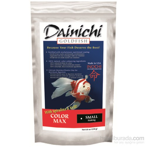 Dainichi Goldfish Color Max Small 250 Gr. 2 Mm. Doğal Renklendirici Japon Balığı Yemi