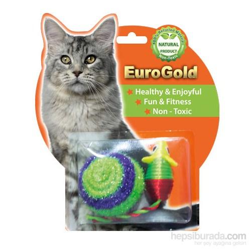 Eurogold İp Kaplı Top & Parlak Fare 2'Li Kedi Oyuncağı